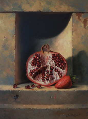 Still life with pomegranate and strawberry - 30 x 40 cm