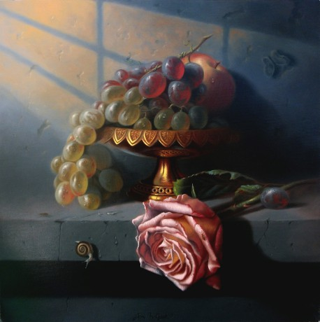 Still life with grapes and pink rose / Svítání -  40 x 40 cm