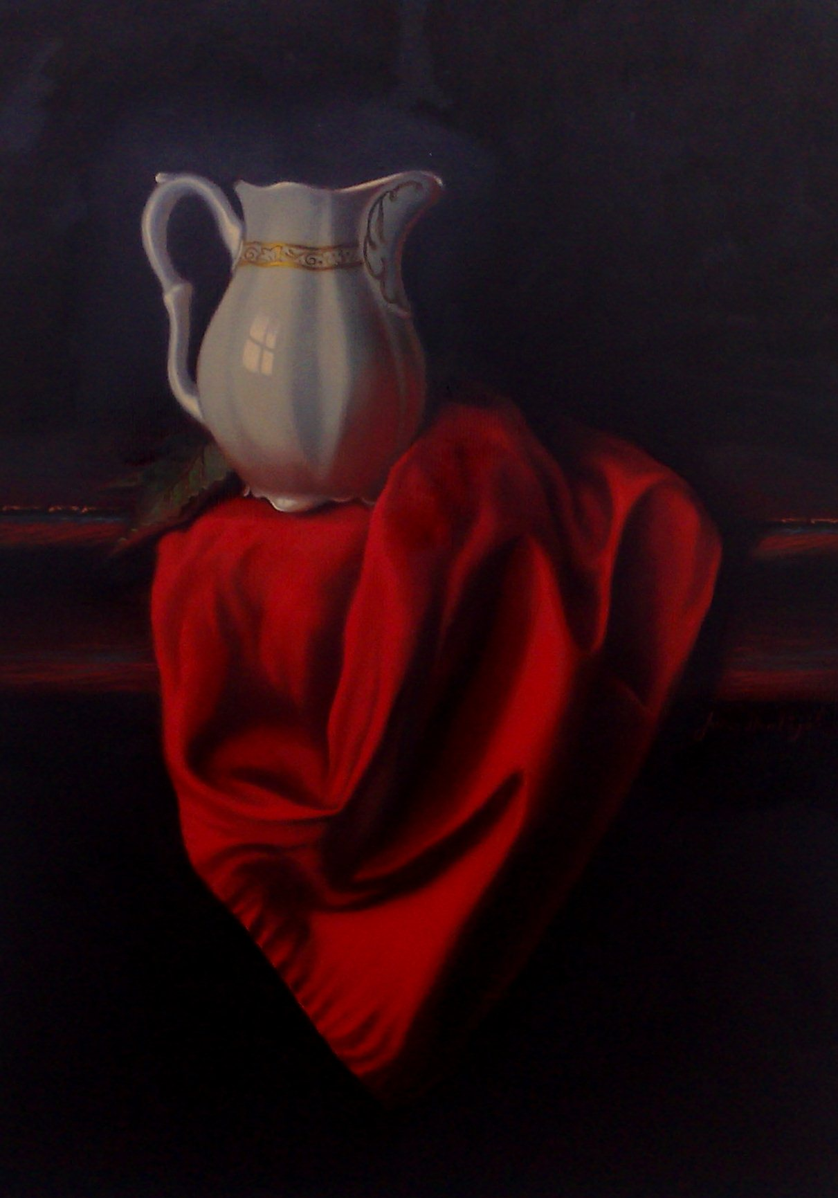 Still life with red drape
