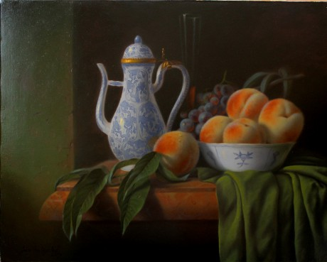 Still life with peaches 40 x 50 cm - Dutch style n.2