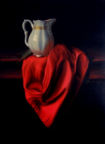Still life with a red tablecloth - 30 x 40 cm