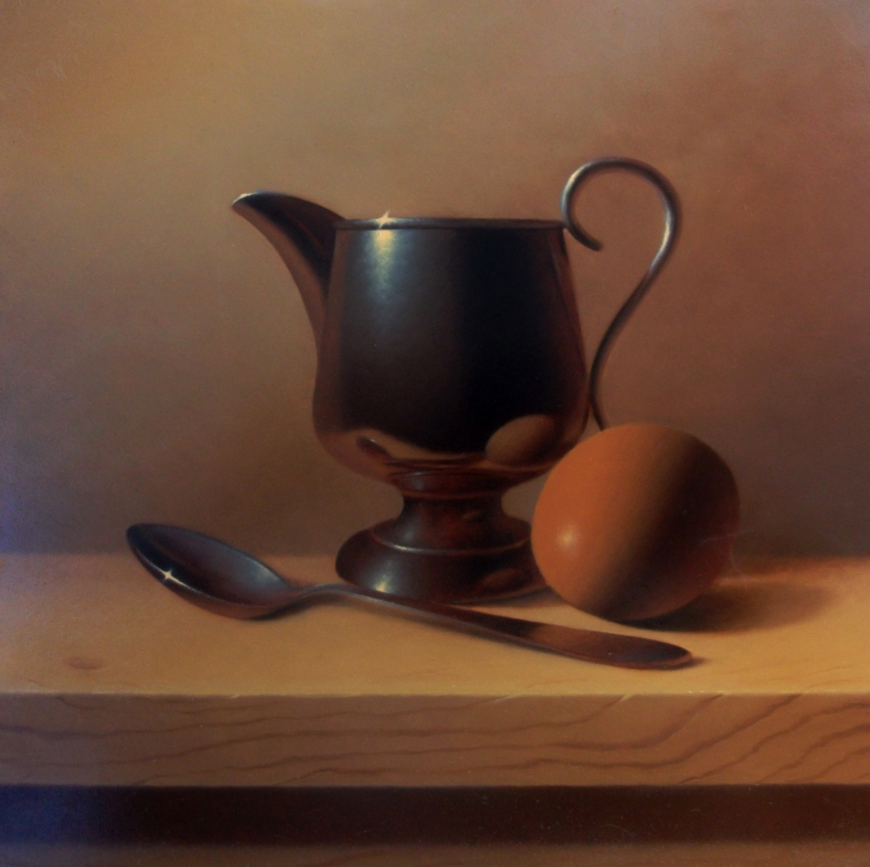 Still life with egg and spoon - olej  40 x 40 cm
